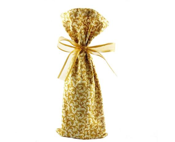 ON SALE -- Wine Bottle Bag in Gold Vine Fabric