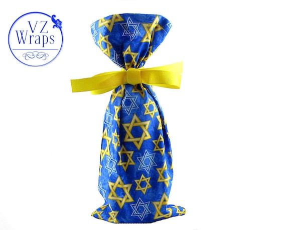 Wine Bottle Bag with Stars of David for Hanukkah or Jewish Celebrations