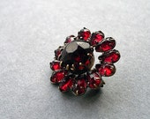 Vintage Rhinestone Brooch, Red, Flower, on Etsy