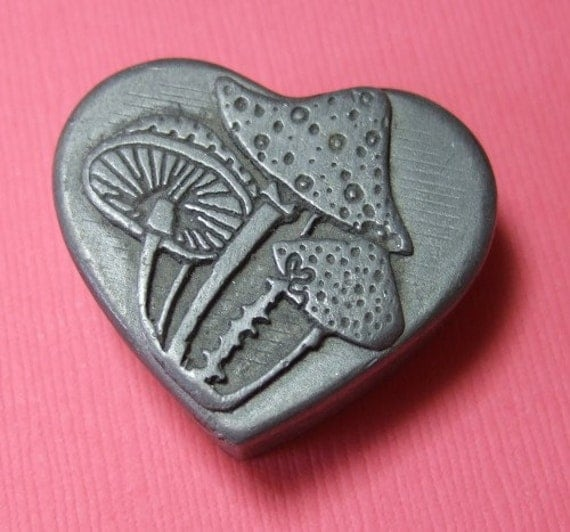 Vintage Sulitan Pewter Heart Shaped Trinket Box