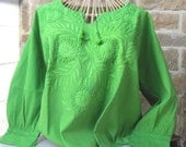 Mexican Peasant Blouse Hand Embroidered Lime Green Extra Large