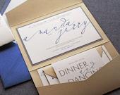 "Navy and Gold Wedding Invitations, Modern Calligraphy Wedding Invitation, Sapphire Blue Pocketfold Invites - ""Modern Calligraphy"" PF-1L-v3"
