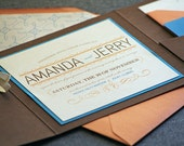 Vintage Wedding Invitation shown in Orange, Blue, Brown and Cream, Whimsical Flourish Vintage - Pocketfold, 1 Accent Layer  - SAMPLE