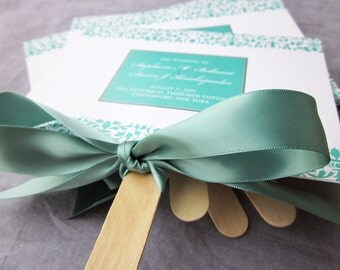 "Damask Fan Wedding Ceremony Programs, Destination Wedding, Aqua and Teal Beach Wedding Stationery - ""Elegant Damask"" Fan Program - DEPOSIT"