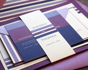 Modern Wedding Invitation, Purple Invitations, Ombre Invites, Fuschia and Lilac, Contemporary Triple Stripe - Flat Panel, 1 Layer - DEPOSIT