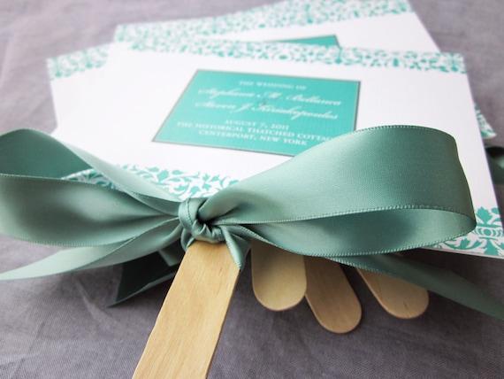 "Damask and Ribbon Custom Fan Wedding Program Shown in Teal and White - ""Elegant Damask"" Fan Program - DEPOSIT"