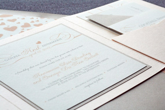 Romantic Flourish Classic Wedding Invitation shown in Blush, Taupe and Cream, Build-Your-Invite Collection - DEPOSIT