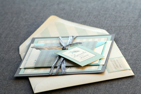 Starfish and Shell Beach Wedding Invitation shown in Blue, Grey and Cream, Build-Your-Invite Collection - DEPOSIT