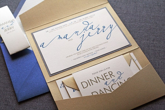 "Calligraphy Wedding Invitation, Script Invitations, Sapphire Blue, Gold, Grey, Cream, ""Modern Calligraphy"" Pocketfold 1 Layer, v3 - SAMPLE"