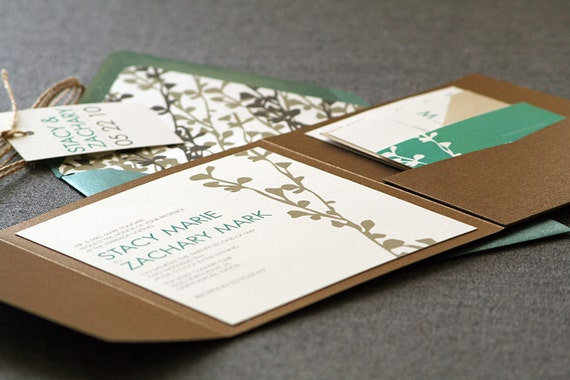 """Rustic Wedding Invitations, Fall Wedding Invites, Emerald Green and Brown - """"Modern Floral Silhouette"""" - Pocketfold, No Layers, v2 - SAMPLE"""