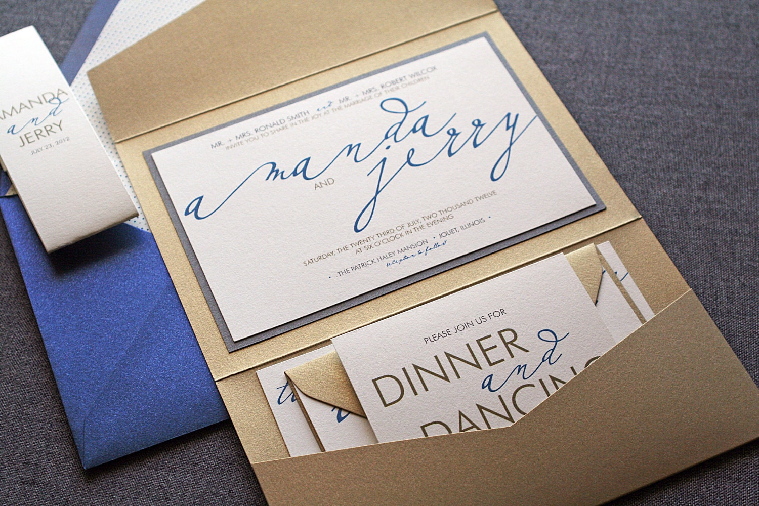 Modern Calligraphy Script Wedding Invitation By
