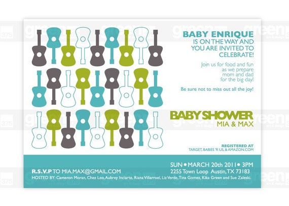 baby shower invitations michael miller groovy guitar pattern hq