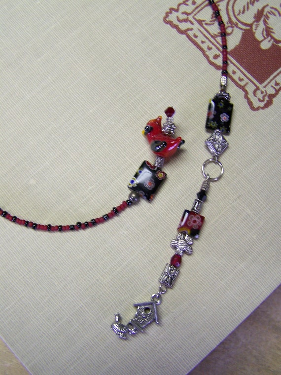 B7 Cardinal Beaded Bookmark