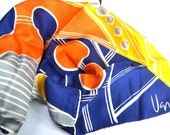 hanpainted vera scarf - 60s mod - long geometric neon colors