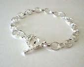 925 Sterling Silver Plated Oval Link Bracelet - Charm Bracelet - Toggle Clasp - 7 inches