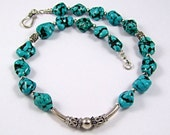 Turquoise Nugget Sterling Silver Southwestern Statement Necklace - N170