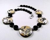 Chinese Jasper & Black Onyx Sterling Necklace - N419