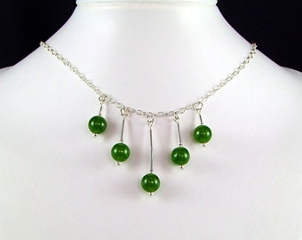 Green Nephrite Jade & Sterling Silver Necklace - N459B