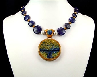 Lapis and Chrysocolla Intarsia Pendant Necklace - N491