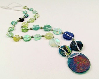 Multicolored Ancient Roman Glass Necklace - N511