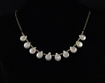 Freshwater White Drop Coin Pearl Necklace - N535