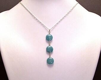 Aquamarine Triple Coin Cascade Necklace - N543