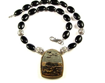 Chinese Painting Jasper Intarsia Necklace - N518