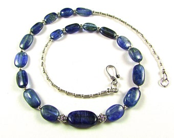 Superb Royal Blue Kyanite Sterling Silver Necklace - N523
