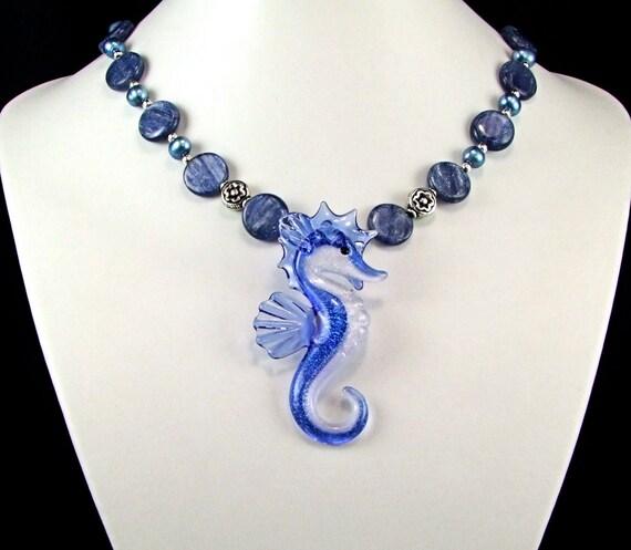 Boro Glass Seahorse Kyanite Necklace - N317