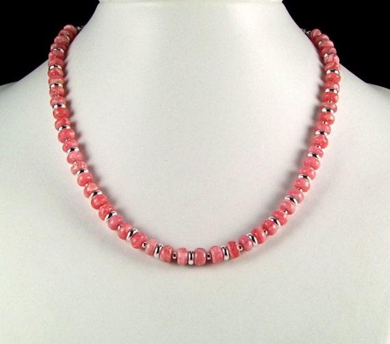 Rhodochrosite & Sterling Silver Necklace - N472