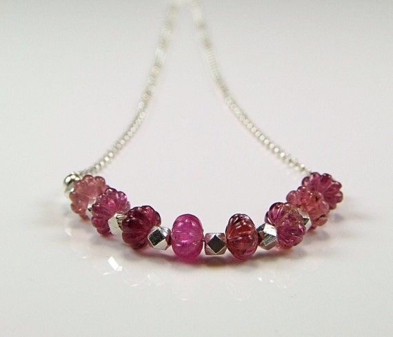 Glorious Carved Pink Tourmaline Sterling Silver Necklace - N495