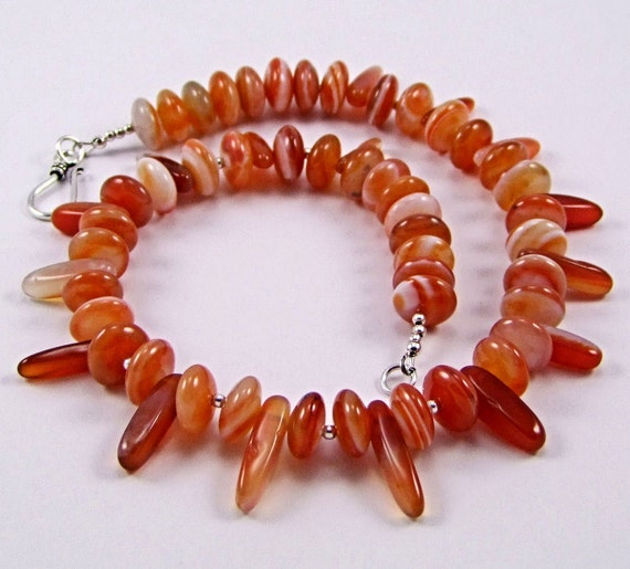 Carnelian & Sterling Silver Necklace - N216
