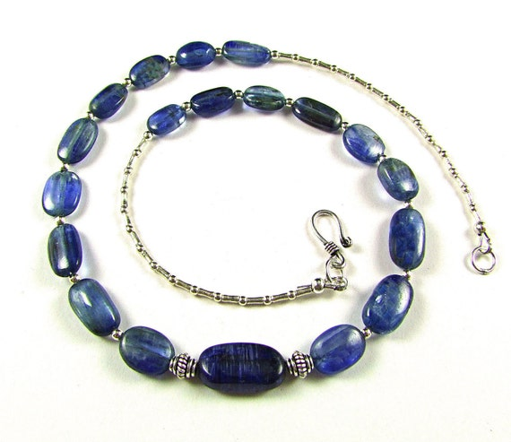 Superb Royal Blue Kyanite Sterling Silver Necklace - N523