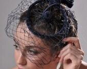 Vintage 1940s Deep Blue Velvet Cocktail Veiled Ring Toque Hat artedellamoda