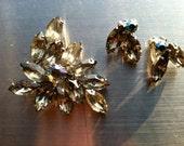 Sparkly Demi Parure Set Brooch Pin Luscious Clip on Earrings Rhinestones Crystals Prongset Grey AB Vintage Jewelry artedellamoda SALE was 60