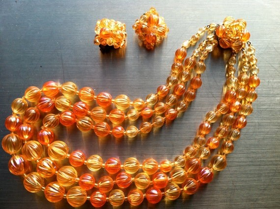 GERMANY signed SET Chunky Multi Strands Yellow Orange Lucite Necklace Clip on Earrings Vintage Jewelry Mad Men SALE was 50