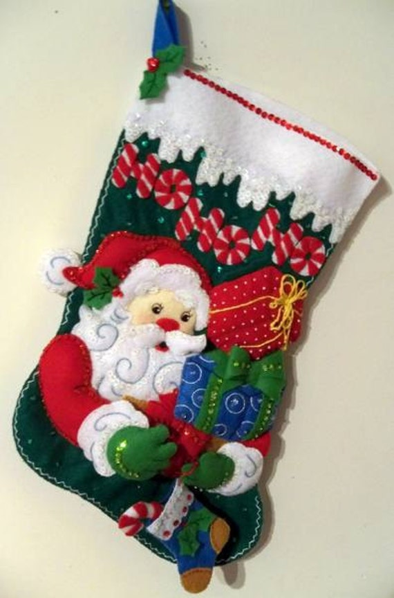 FINISHED Bucilla Stocking-HoHoHo Santa