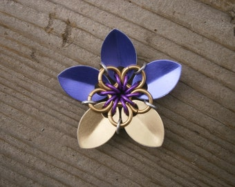 Everlasting Flower in violet and gold