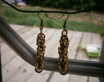 Gold and brown byzantine dangle earrings