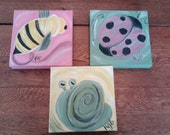 Whimsical Nature 8 x 8 Original Paintings Trio of Ladybug, Snail and Bee