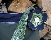 Denim and Dark Green Purse- Custom order