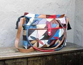 Vintage Large Patchwork Leather and Daisy Multi Color Tote Bag