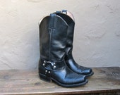 Vintage Worn In Leather Motorcycle Boots w/Harnass Mens Size 8, Ladies Size 10