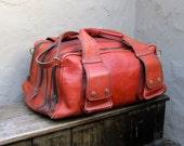 Vintage Distressed Cognac Rugged Leather Duffle Travel Bag w/Shoulder Strap