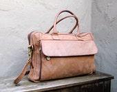 Vintage Distressed Leather Satchel Briefcase w/Shoulder Strap