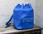 Vintage Italian Periwinkle Leather Backpack Purse by St Dupont