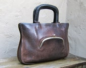 Reserved for kristin Vintage Rare Authentic Coach Distressed Brown Leather Watermelon Zip Tote