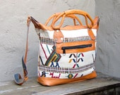 Reserved for Hether G Please Do Not Buy Vintage Cream Colorful Bird Embroidered Ethnic Tote w/Leather Trim
