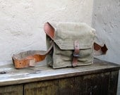 Vintage 1950's Military Army Green Canteen Canvas Leather Messenger Bag
