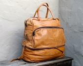 Vintage Large Distressed Tan Leather Collapsible Travel Duffle Bag w/Shoulder Strap